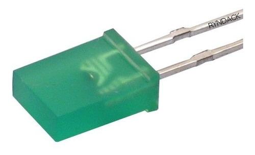 100 peças * led verde ou vermelho retangular 2x5x7 difuso