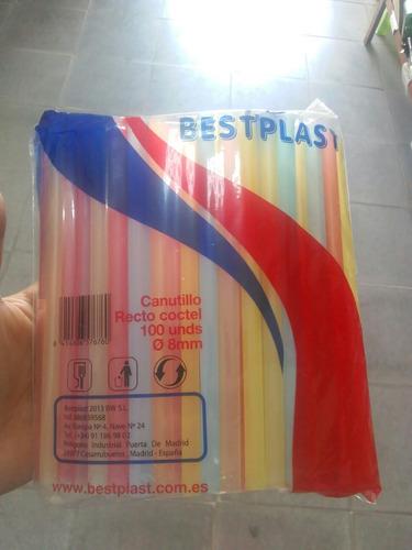 100 pitillos colores vasos frappe