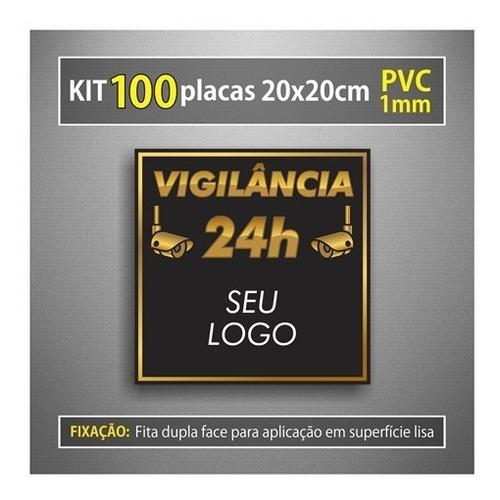100 placas monitoramento câmera segurança 24horas personaliz