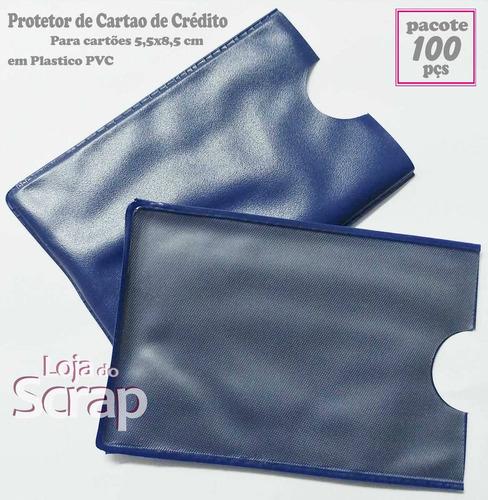 100 plastico protetor porta cartão 5,5x8,5 azul marinho