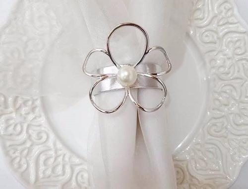 100 porta guardanapos flor c/ delicada pérola casamento luxo