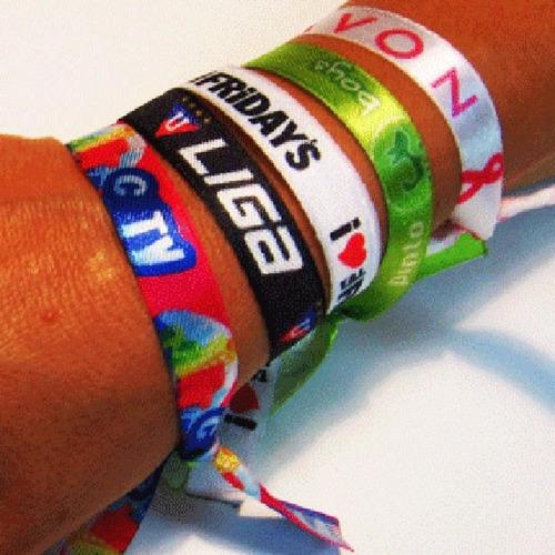 100 pulseras de tela de raso impresas full color