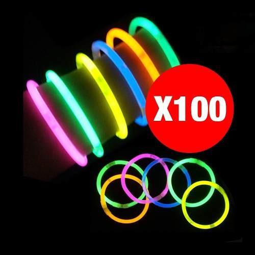 100 pulseras fluor luminosas, cotillon