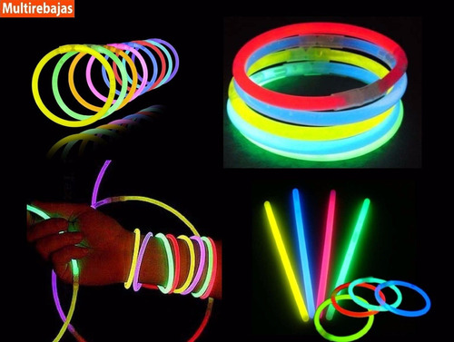 100 pulseras glow neon manillas led sticks luminosas fiesta!