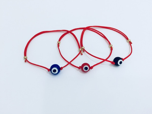 100 pulseras hilo rojo ojo turco rojo azul negro mayoreo