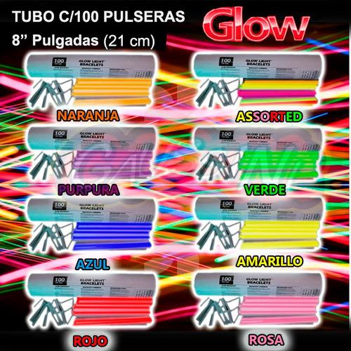 100 pulseras premiun glow cyalume neon 12 hrs x color o asst