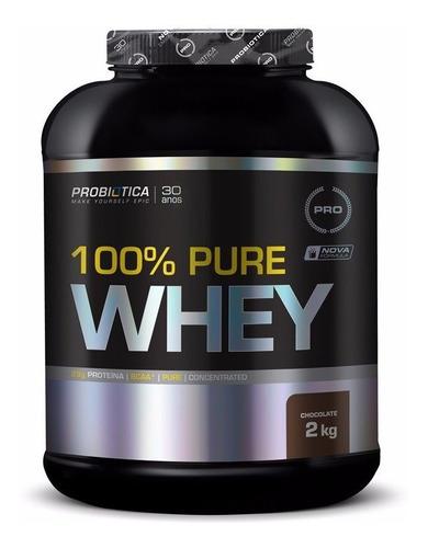 100% pure whey 2kg vários sabores probiótica + coqueteleira