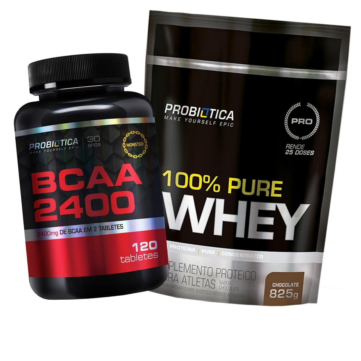 100% Pure Whey 825g + Bcaa 2400 120tabs - Probiótica - R  135 dc696b9af4016