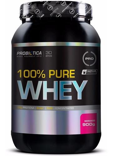 100% pure whey - 900 gramas - probiotica - morango