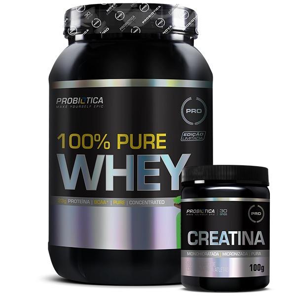 100% Pure Whey 900g + Creatina - Probiótica - R  110 7628860f6512d