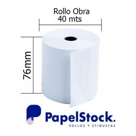 100 Rollos De Papel Obra 76x40 Lisos Blanco