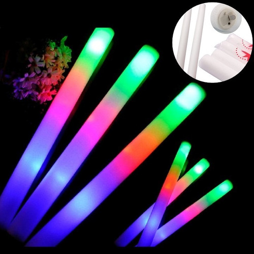 100 rompecocos led barras goma espuma luminosa multicolor