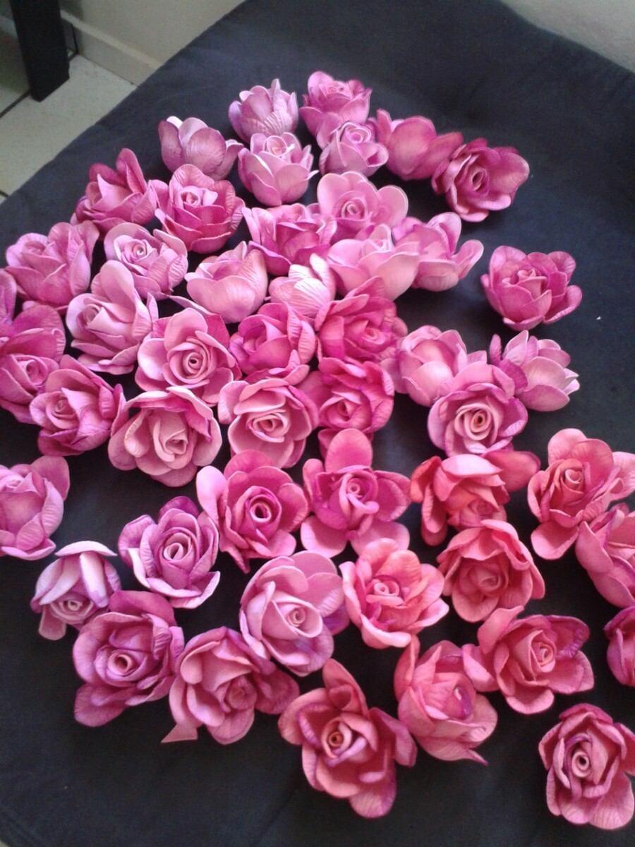 100 Rosas Flores Decoraç u00e3o Festas Casamento Aniversário 5 Cm R$ 129,00 em Mercado Livre -> Decoração De Flores Festa
