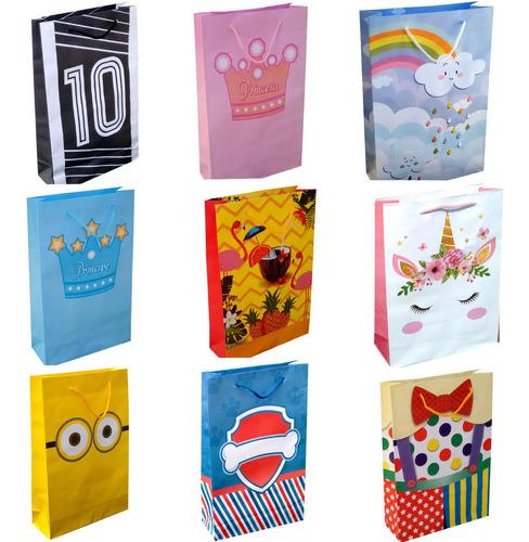 100 sacolas de papel colorida 25x17x6cm bolsa festa 90g
