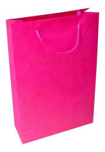 100 sacolas de papel rosa pink 25x17x6cm bolsa festa 90g