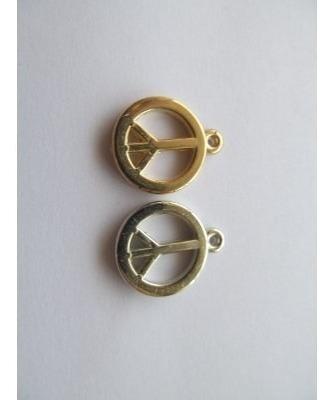 100 simbolo de paz dijes dorado/plateado para pulsera/collar