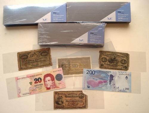 100 sobres bolsillos internos hojas billetes 4 espacios pr4