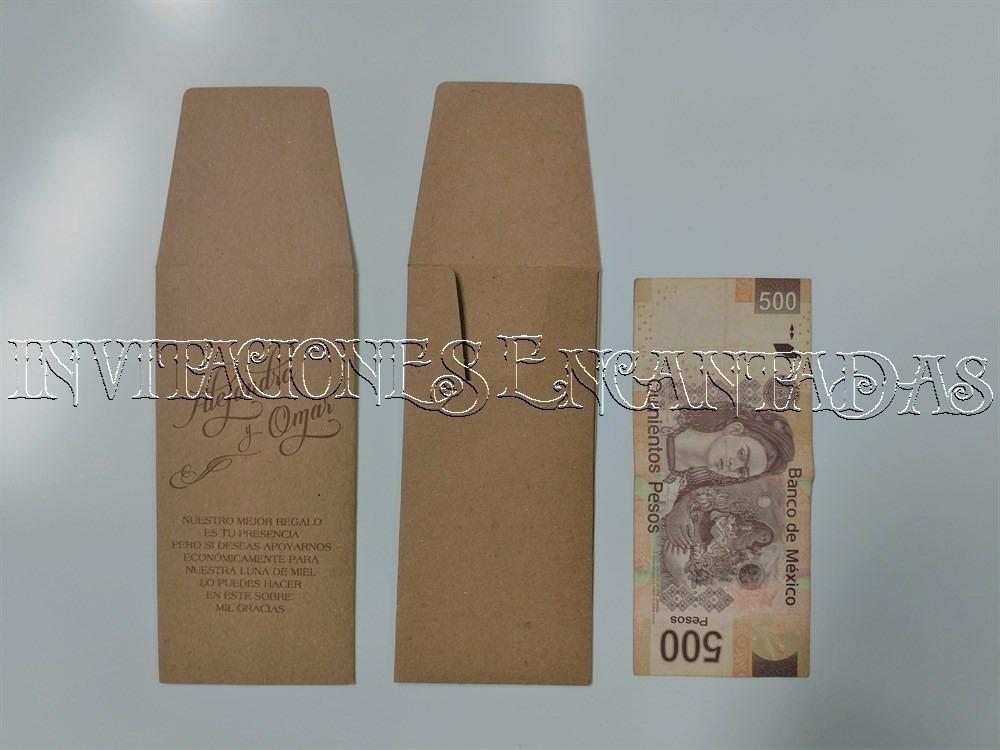 100 Sobres De Dinero Boda Tamaño Billete 500 Pesos Impresos