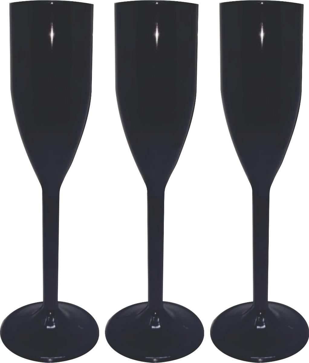 100 Taças Champagne Acrilico Lisas 200 Ml - Preta - R  100 21066e52f2b62
