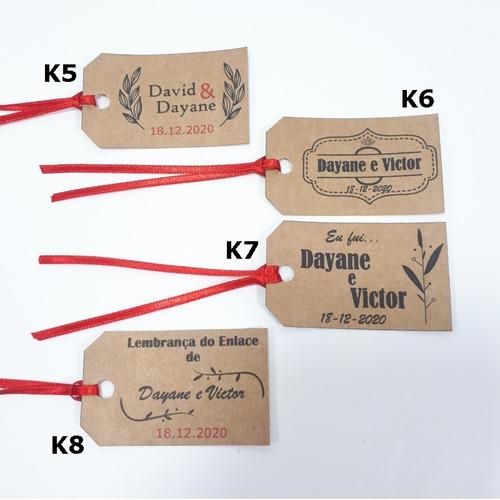 100 tags kraft personalizadas para casamento e lembrancinha