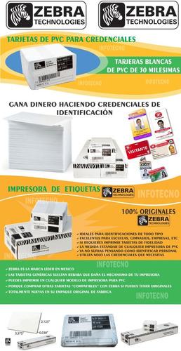 100 tarjetas de pvc blancas zebra para imprimir credenciales