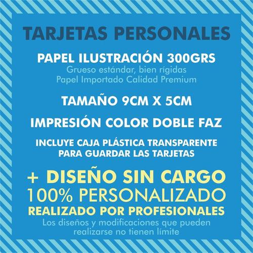 100 tarjetas personales doble faz 9x5 300g + diseño gratis