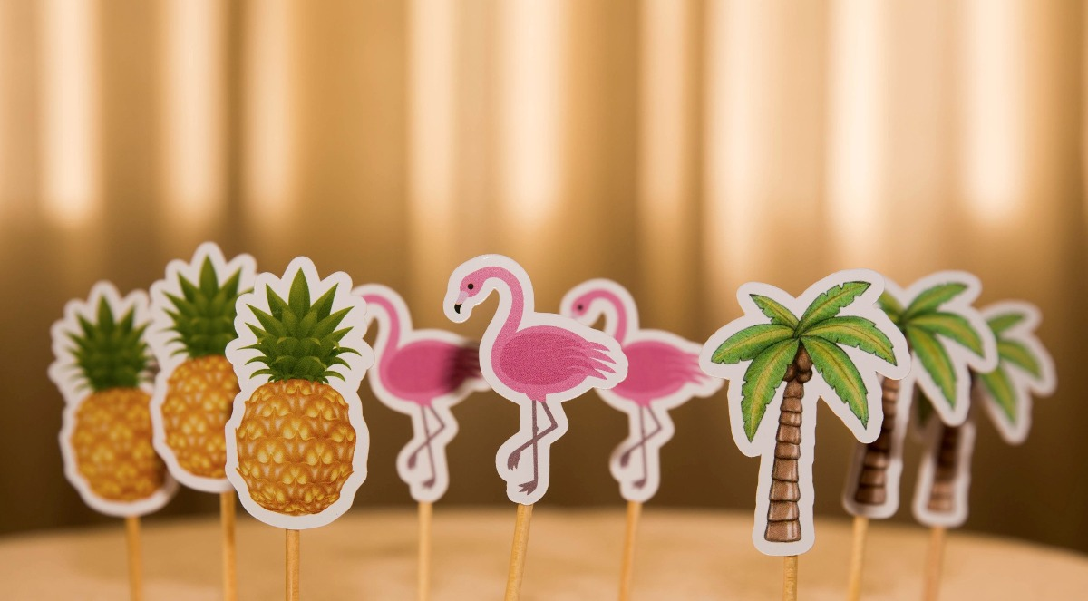 100 Toppers Flamingos Enfeites Para Festa R 35 00 Em Mercado Livre -> Enfeites De Fotos