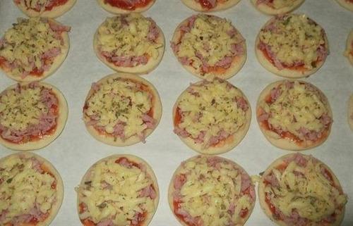 100 unid. mini pizzas congeladas/pré assadas/produto pronto