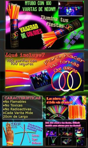 100 varitas de neón y seguros ilumina tu fiesta de colores