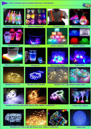 100  vasos trago largo luminosos 3 led c/u ..