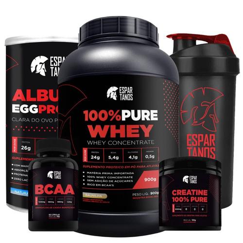 100% whey + albumina egg protein + bcaa + creatina + shaker
