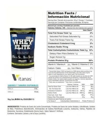 100% whey elite - 2lb- vitanas- proteina limpia