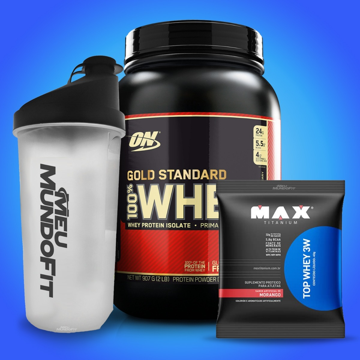 a1d70421d 100% Whey Gold Standard 909g On + Brindes - Todos Sabores - R  169 ...