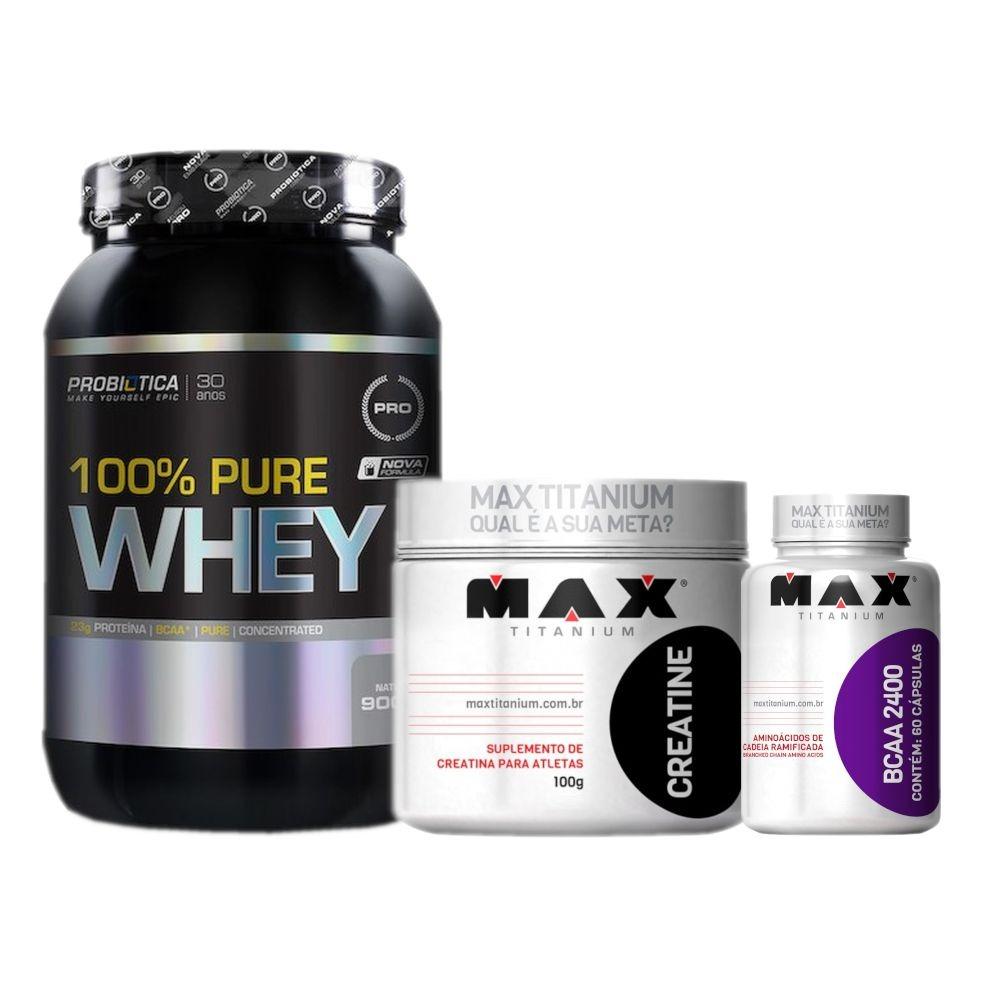 100% Whey Pure 900g +bcaa 2400 + Creatina 100g - Probiótica - R  107 ... 96480a53e7221
