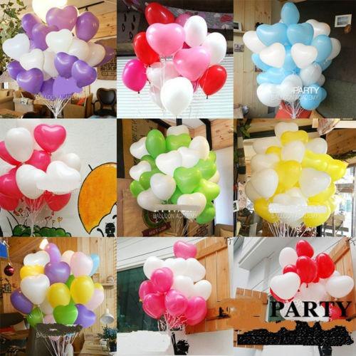 100 x en forma de corazón globos látex fiesta cumpleaños dec