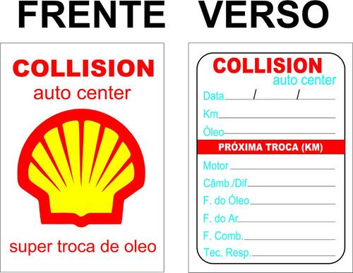 1000 adesivos etiquetas troca de óleo 5 cores