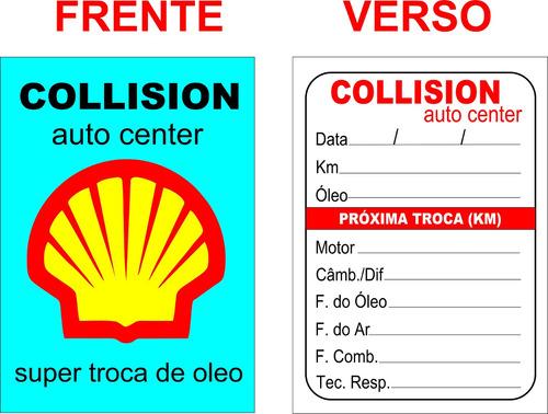 1000 adesivos etiquetas troca de óleo 6 cores