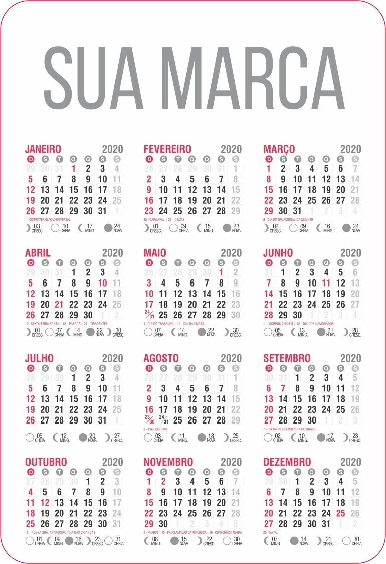 Calendario De 2020 Brasil.1000 Calendarios De Bolso Personalizado 4x4 2020
