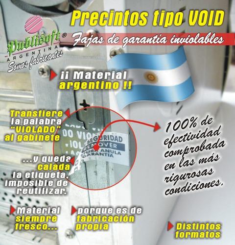1000 etiquetas tipo void 100% efectivas 43x21 mm. económicas
