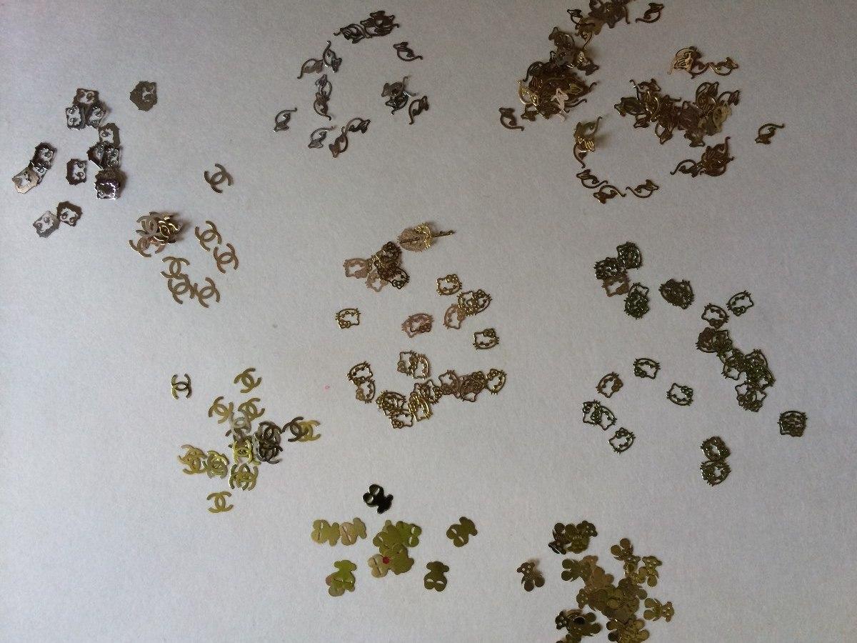 1000 Logos Metalicos Decoracion Uñas Acrilicasoro Plata $150 ...
