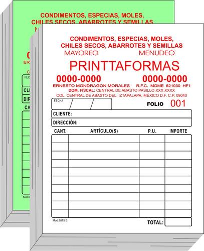 1000 notas de remisión 1/8 carta 1 copia y folio. 1 tinta