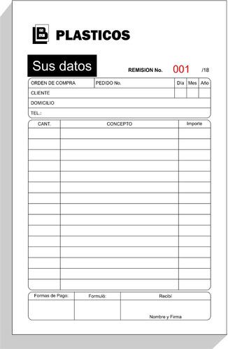1000 notas de remisión media carta 2 copias y folio. 1 tinta