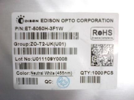 1000 pçs led plcc5050 de 0,3w branco neutro edison