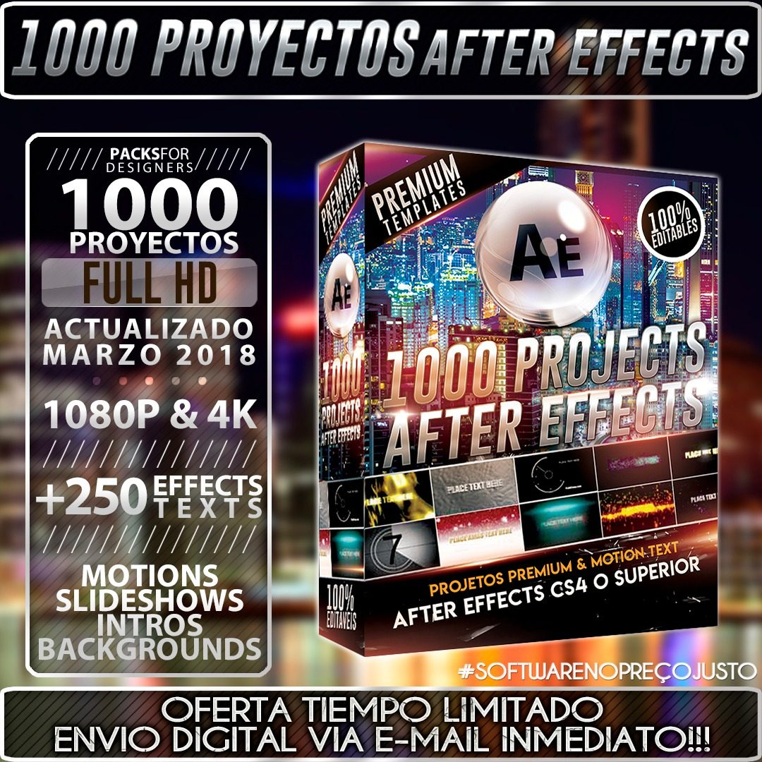 1000 Proyectos After Effects Premium (pack Vip) + Regalo