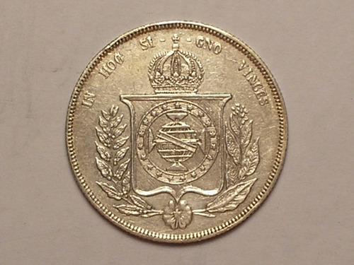 1.000 rs. 1858 - perolas em chamas / prata / brasão