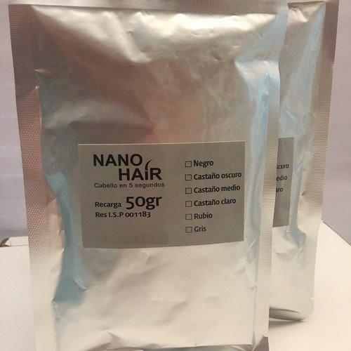 100g de nano hair en 2 recargas de 50g c/u negro