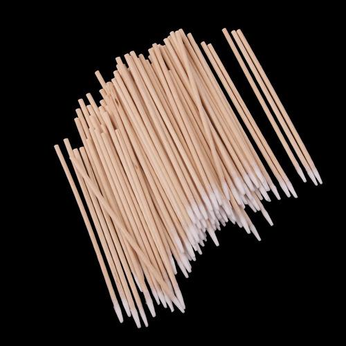 100x adornos hisopos de algodón mango de madera de laborato