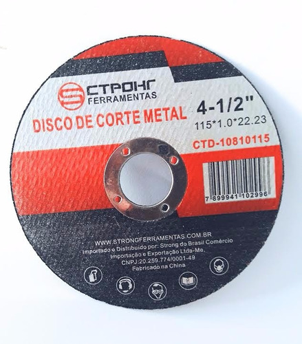 100x disco corte inox 4.1/2 x 1,0mm extra fino