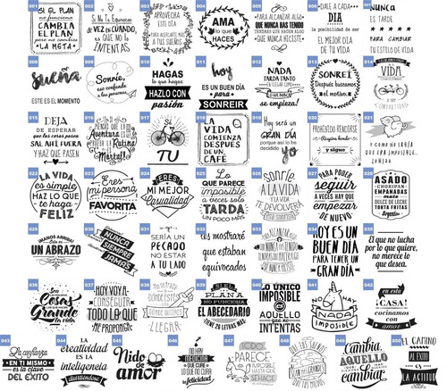 102 plantillas frases vinilo sublimacion tazas camisa frasco
