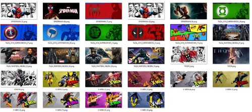 102 plantillas sublimación tazas - comic superheroes